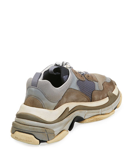 b6b051cab6a60 Balenciaga Triple S Mesh & Leather Trainer Sneaker, Gray