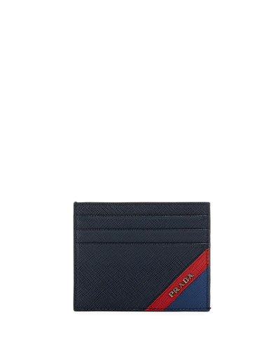 Saffiano Striped Card Case