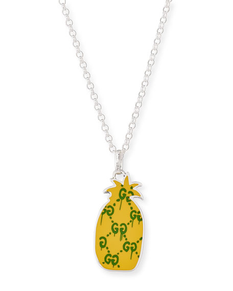 Gucci guccighost mens sterling silver pineapple necklace aloadofball Choice Image