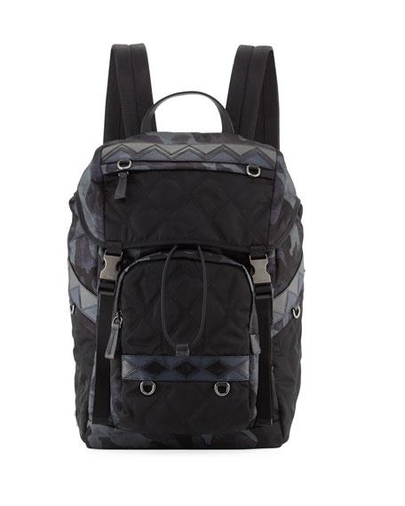 Tessuto Impunturato Camouflage Backpack