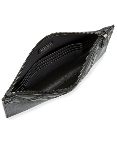 Saffiano Greche Leather Portfolio Case