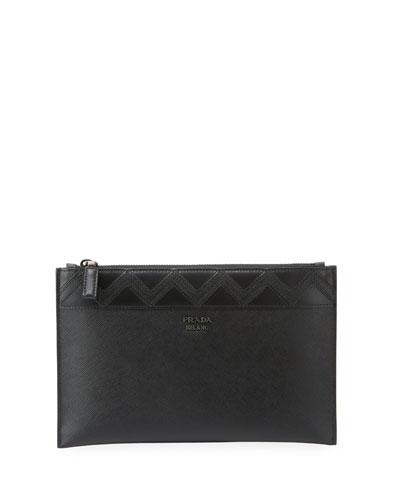 Saffiano Greche Leather Portfolio Case