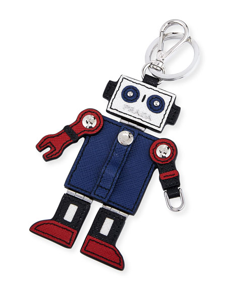 Saffiano Robot Keychain