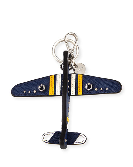 Saffiano Airplane Key Chain