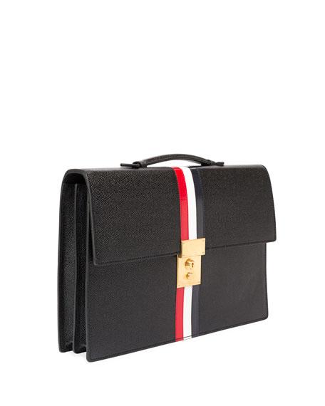 Leather Attache Case with Tricolor Stripes, Black