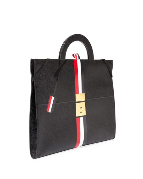 Trompe l'Oeil Slim Leather Attache Case, Black