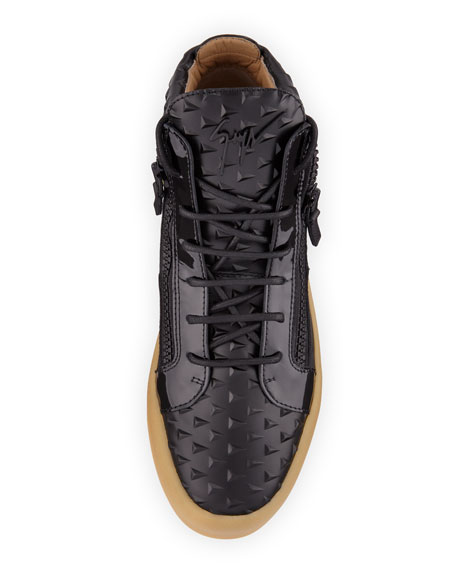 Men's Pyramid Leather Mid-Top Sneaker, Black