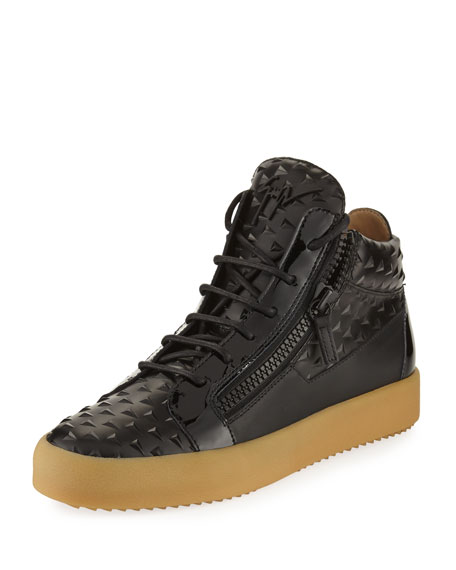 Men's Pyramid Leather Mid-Top Sneakers, Black