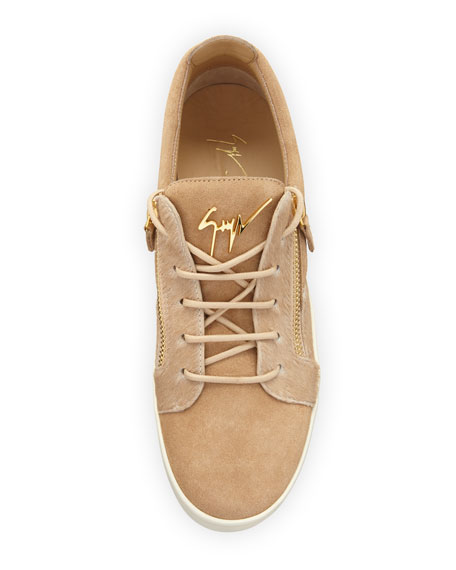 Men's Suede & Calf Hair Double-Zip Low-Top Sneaker