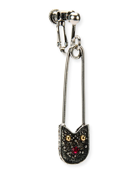 Alexander McQueen Safety Pin Clip-On Dangle Earring