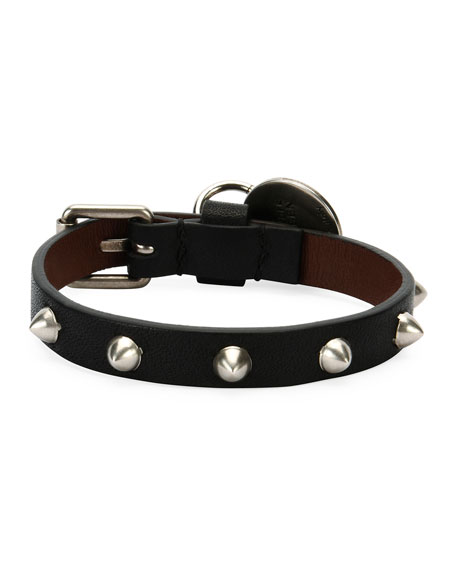 Men's Studded Leather Skeleton Charm Bracelet, Black