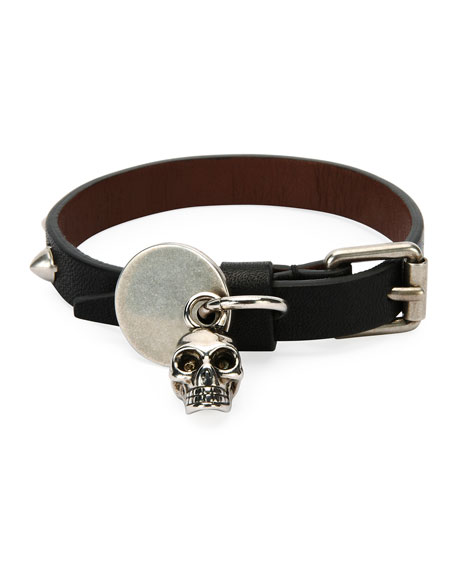 Alexander McQueen Men's Studded Leather Skeleton Charm Bracelet,