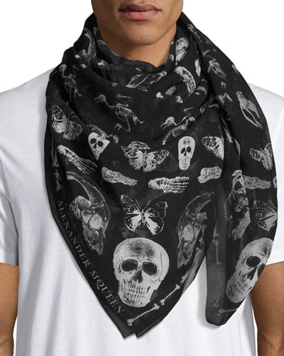 Men's Bones & Butterfly Silk Scarf