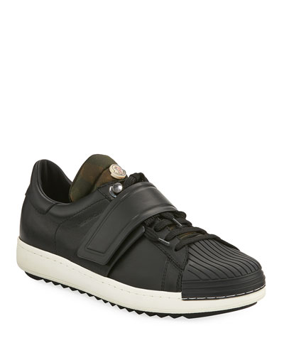 Arnoux Leather Grip-Strap Sneaker, Charcoal