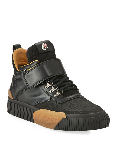 Moncler Leathers CYPRIEN LEATHER HIKING BOOT, BLACK