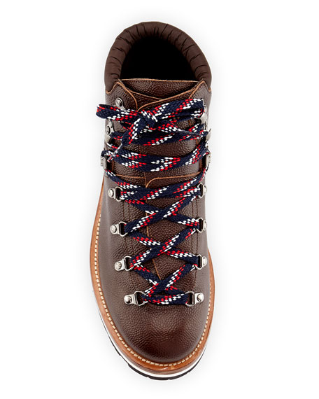 Peak Leather Lace-Up Ankle Boot, Dark Brown