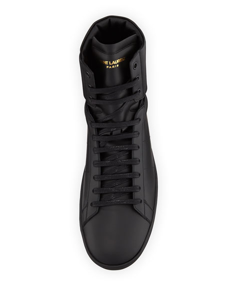 SL/10H Men's Signature Court Classic Leather High-Top Sneakers