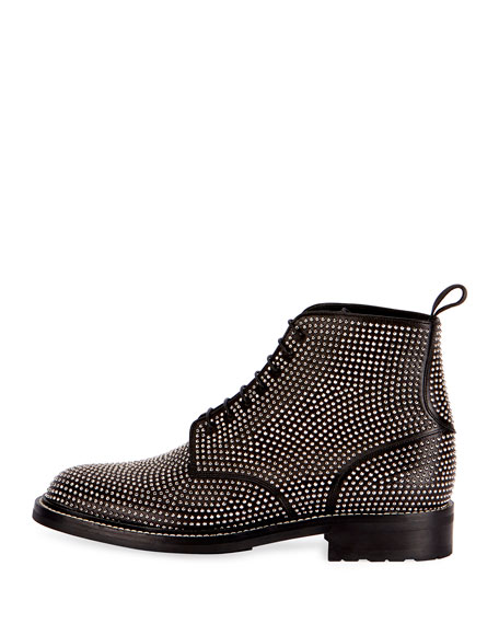 William 20 Studded Leather Combat Boot, Black