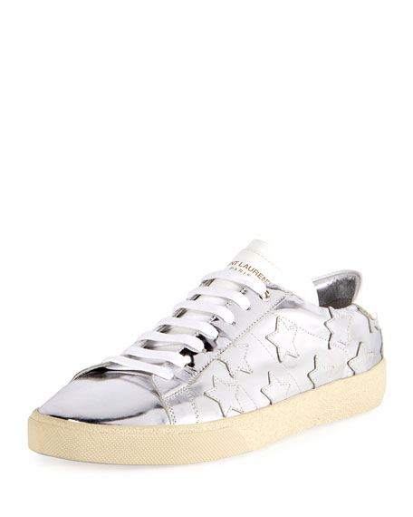 Signature Court Classic Men's Metallic Leather Star Sneakers, Silver