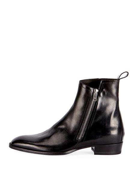 f934615b625 Wyatt 30 Side-Zip Leather Ankle Boot Black