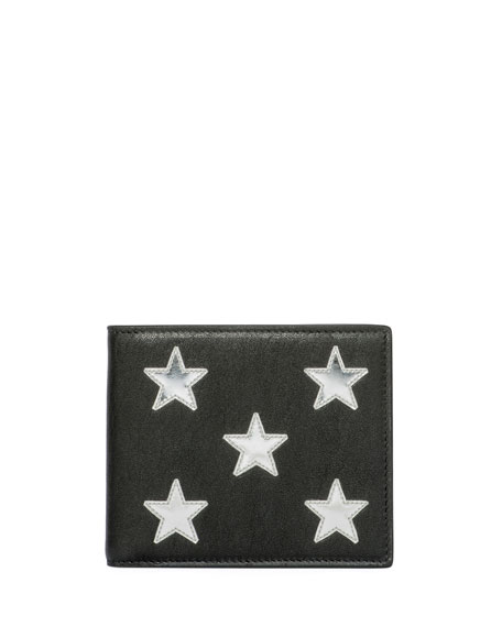 Metallic-Star Leather Bi-Fold Wallet, Black/Silver