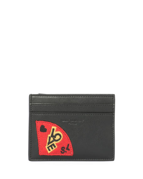 Love Patch Leather Card Case, Black