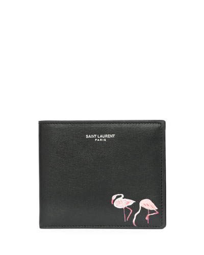 Flamingo-Print East-West Calfskin Leather Wallet