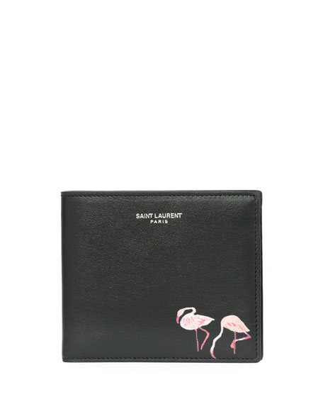 cf28a42edd9 Saint Laurent Flamingo-Print East-West Calfskin Leather Wallet