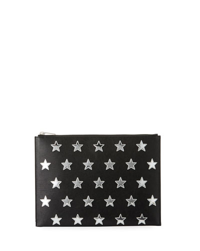 Rider California Metallic-Star Leather Zip-Top Pouch