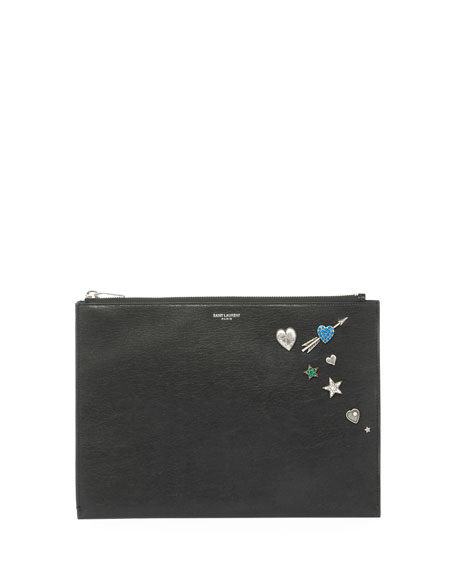 Charm-Embellished Leather Zip-Top Pouch, Black