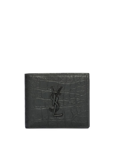 YSL Monogram Croc-Embossed Leather Bi-Fold Wallet, Black