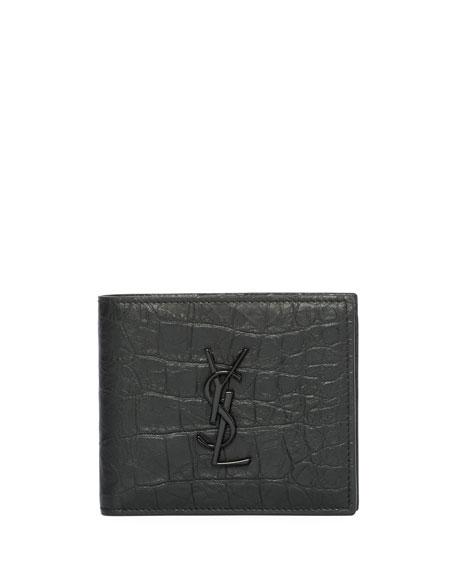 15a523de00f76 Saint Laurent YSL Monogram Croc-Embossed Leather Bi-Fold Wallet