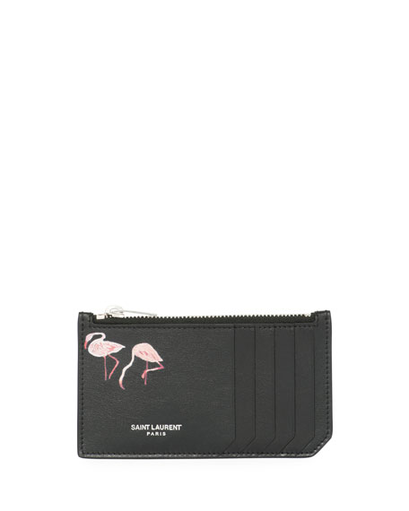 Saint Laurent Fragment Flamingo-Print Leather Zip Card Case,
