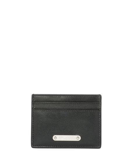 Saint Laurent Classic Plaque Leather Card Case, Black