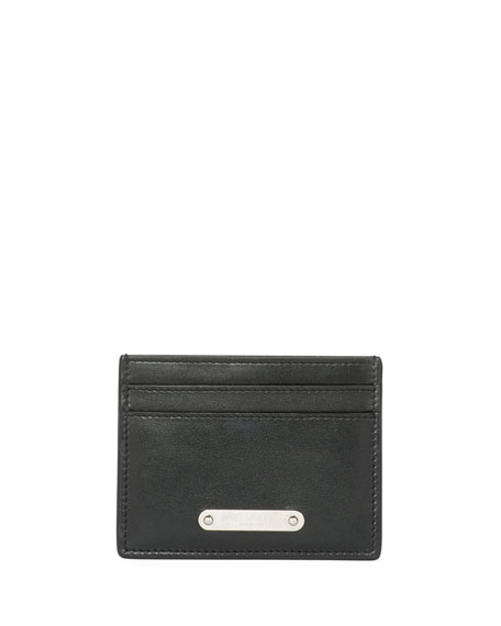 Classic Plaque Leather Card Case, Black