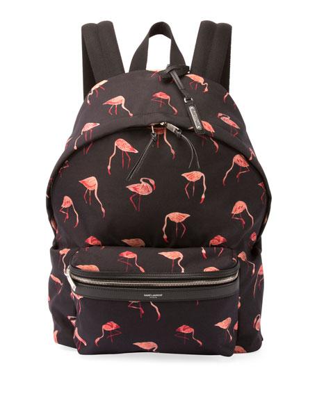 Saint Laurent City Flamingo Nylon Backpack, Black/Multicolor