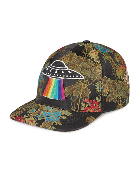 Floral Baseball Cap with UFO