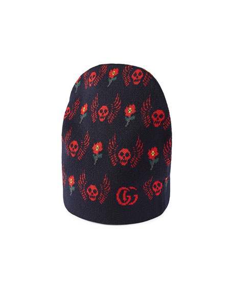 Roses & Skulls Knit Beanie Hat