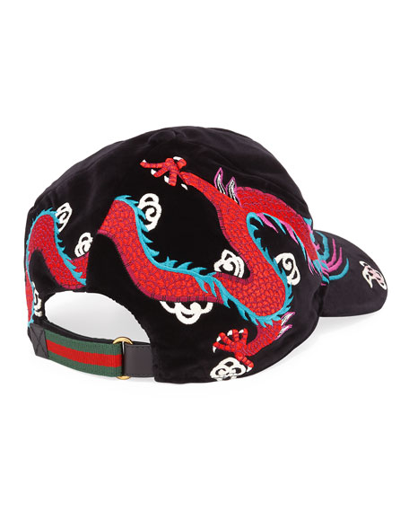 Velvet Dragon-Embroidered Baseball Cap