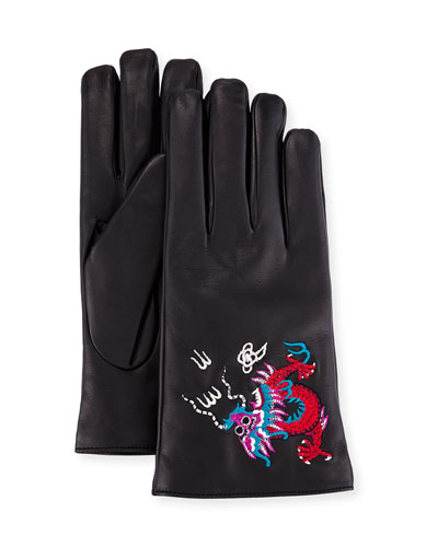 Leather Gloves with Dragon Embroidery