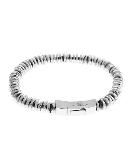Men's Sterling Silver Disc Bead Bracelet