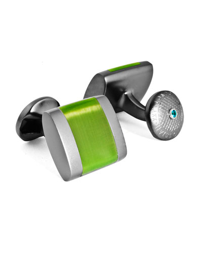 Freeway Contrast-Inset Cuff Links  Green