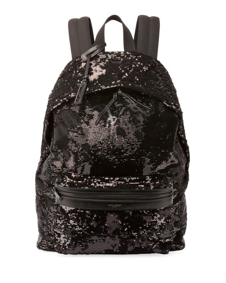 City Sequined Nylon Backpack, Black