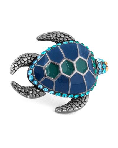Swarovski® Turtle Lapel Pin, Blue