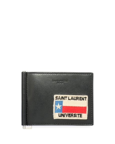 22048c0b Universite Patch Leather Money Clip Wallet