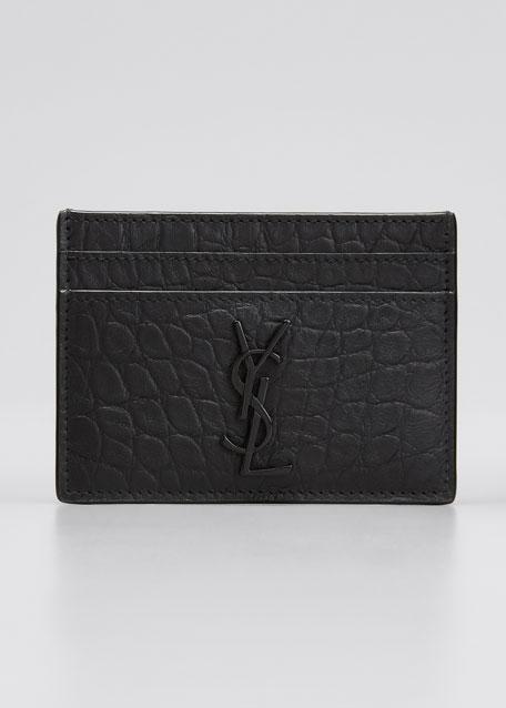 dc51347ffc87 Saint Laurent YSL Monogram Croc-Embossed Leather Card Case