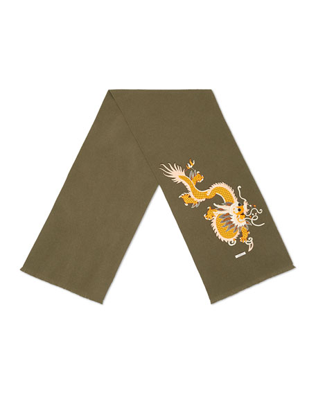 Embroidered Dragon Appliqué Scarf, Olive
