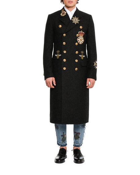 Military Double-Breasted Virgin Wool Coat, Gray