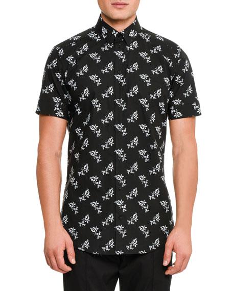 Floral-Print Short-Sleeve Cotton Shirt, Black