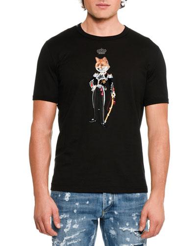 Crowned Fox Cotton T-Shirt, Black